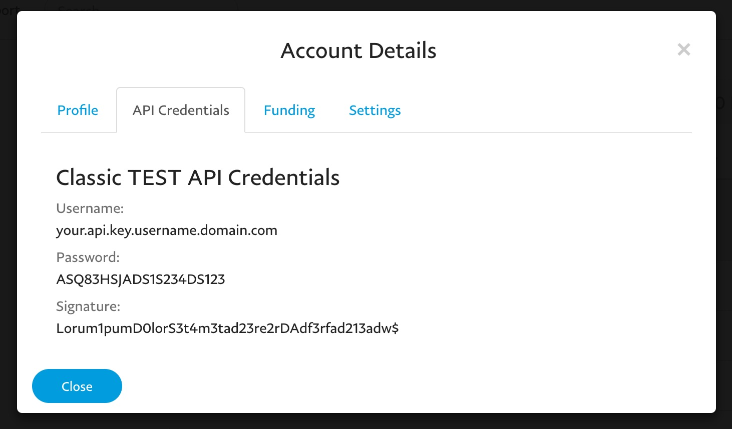 PayPal Sandbox Credentials